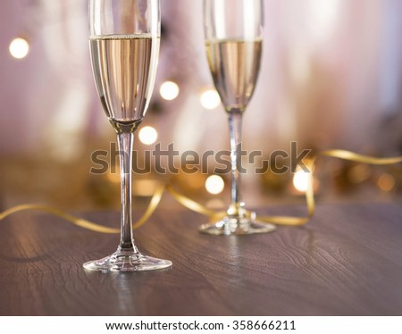 Pair glass of champagne. New year celebration or wedding concept theme - stock photo