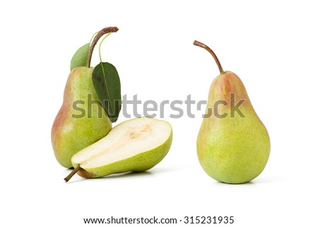 pair green pears with leaf and half on a white background isolated