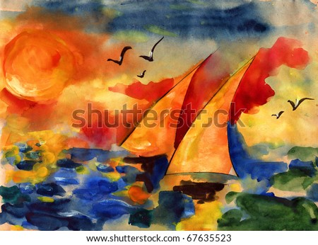 Pair it is yellow white sails against the sky and the sea and the coming sun drawn on water color kraft paper water color colors - stock photo