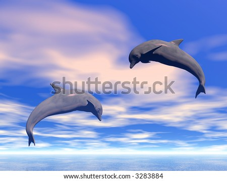 Pair jumping dolphins on a background of the blue sky - 3d scene.