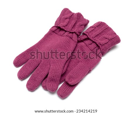 Pair knitted Gloves are. Isolated on white. - stock photo