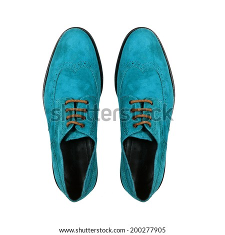 pair male blue shoes isolated on white background - stock photo