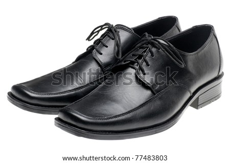 pair man's black shoes isolated on white background - stock photo