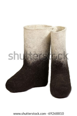pair nurseries a valenok on a white boots sheepskin boots