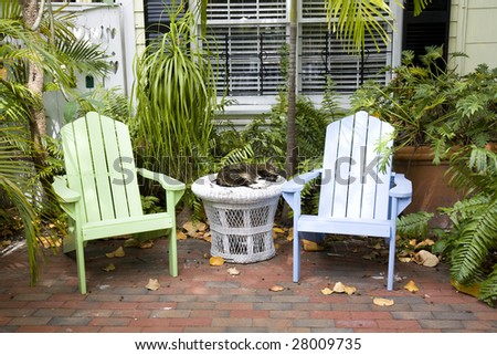 Pair of Adirondack chairs with a sleeping cat - stock photo