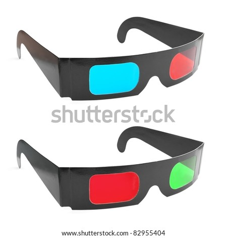 Pair of anaglyph 3D glasses (green-red and cyan-red). - stock photo