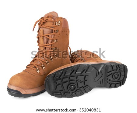 Pair of army boots isolated on a white background - stock photo