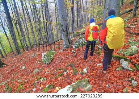Pair of backpackers descending a trail in the woods in autumn - stock photo