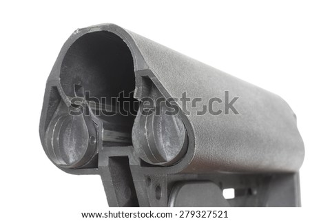 Pair of battery compartments inside the polymer stock of a modern sporting rifle - stock photo
