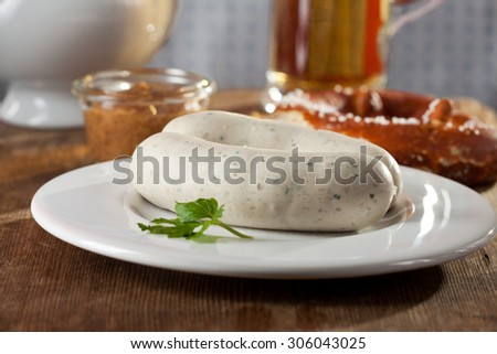 pair of bavarian white sausages  - stock photo