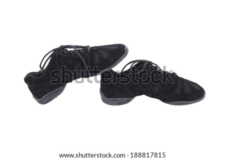 Pair of black dance shoes. Isolated on a white background. - stock