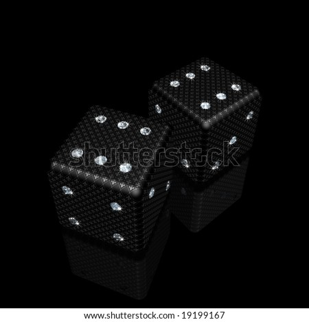 pair of black dice with sparkles diamonds and fleur-de-lis ornament - stock photo