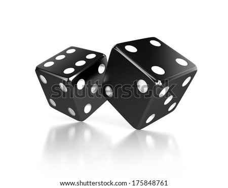 pair of black dices, gaming concept. 3d illustration isolated on a white background - stock photo
