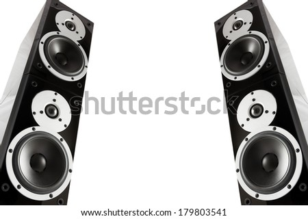 Pair of black high gloss music speakers isolated on white background