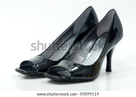 Pair of black high heel shoes - stock photo