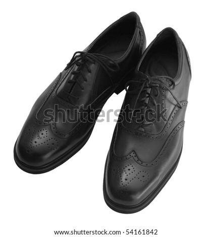 Pair of black leather dress shoes for men - stock photo