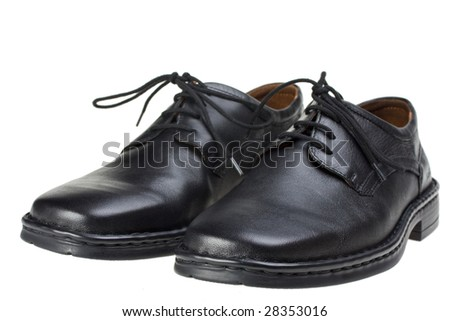 pair of  black leather shoes isolated on white