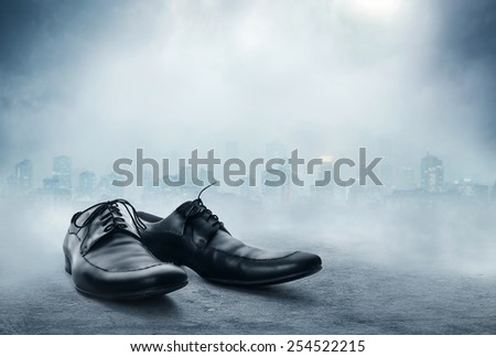 Pair of black male classic shoes - stock photo