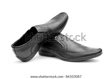 Pair of black man's shoes isolated on white background