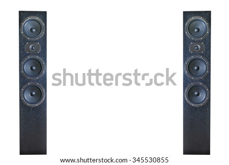 Pair of black music speakers isolated on white background - stock photo