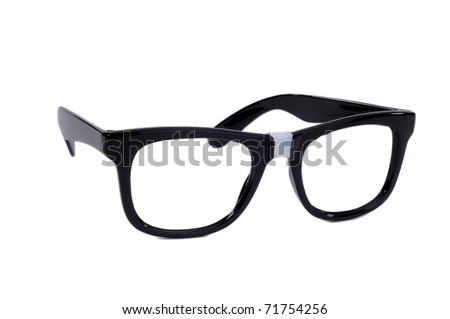 Pair Of Black Sixties Style Glasses With Tape On For A Geek Nerd Style - stock photo