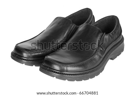 Pair of black thick-soled men's shoes isolated on white