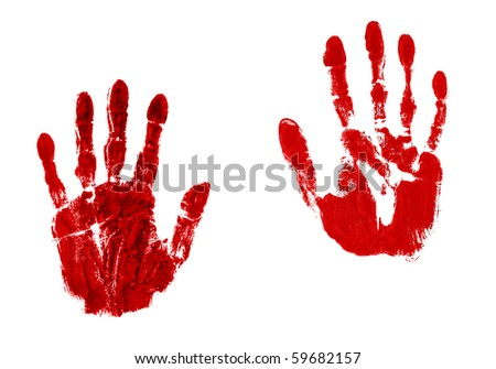 Pair of blood red hand prints isolated on white - stock photo