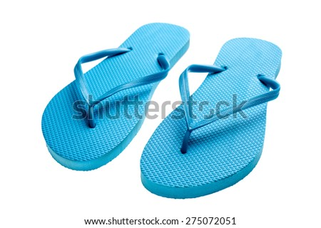 Pair of blue flip-flops isolated on a white background. - stock photo