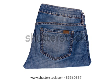pair of blue jeans on a white background - stock photo