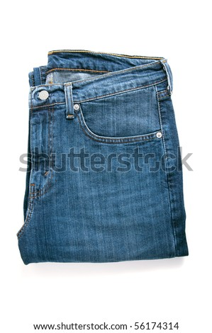 pair of blue jeans white isolated