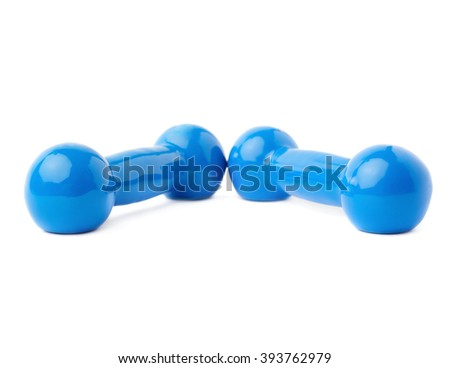 Pair of Blue Plastic coated dumbells isolated over the white background