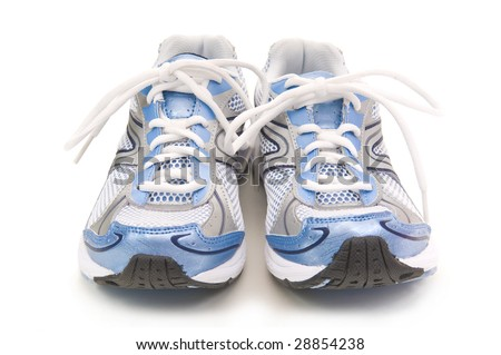 Pair of blue running shoes on a white background - stock photo