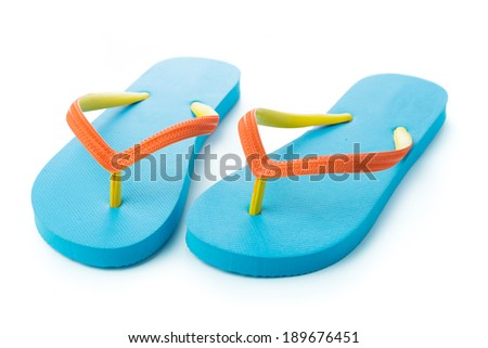 Pair of blue sandal isolated on white background - stock photo
