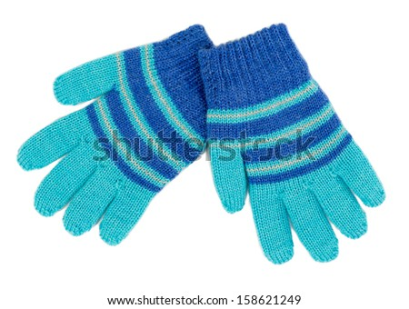Pair of blue striped knitted Gloves are. Isolate on white. - stock photo
