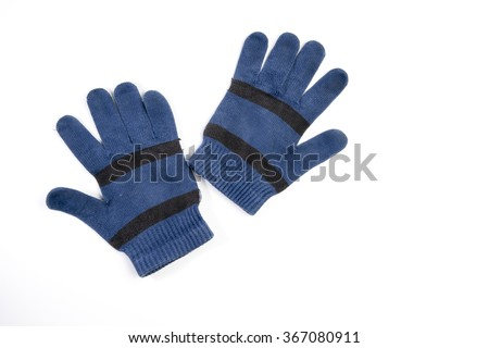 Pair of blue wool gloves - stock photo