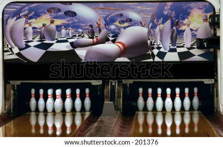 Pair of Bowling Lanes with cool graphics - stock photo