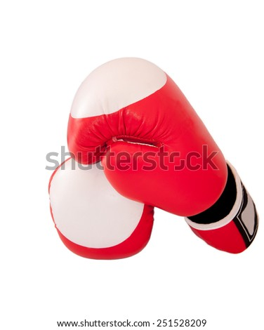 Pair of boxing-gloves isolated on white background. - stock photo