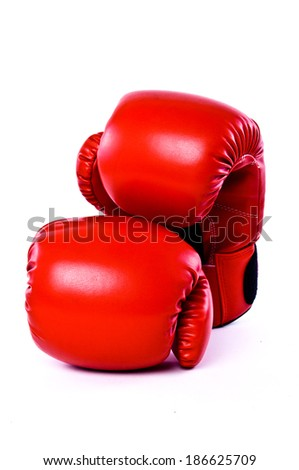 Pair of Boxing Gloves Red Leather Isolated on white background.