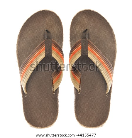 Pair of brown and orange retro oldschool junglist sandals isolated on a pure white background - stock photo