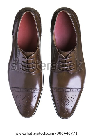Pair of brown leather men shoes