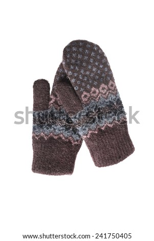 Pair of brown wool mittens isolated over white - stock photo