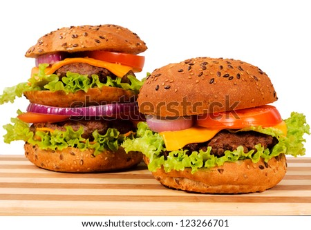 Pair of burgers isolated on white - stock photo
