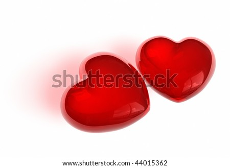 Pair of candy-like hearts - stock photo