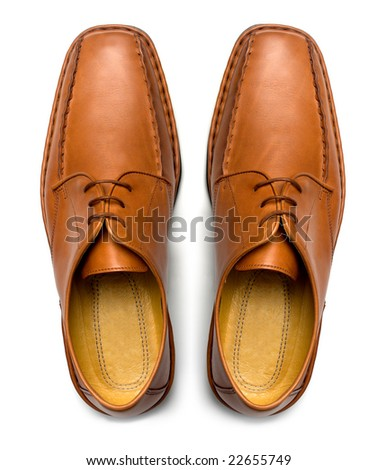 Pair of casual men's leather shoes, top view - stock photo