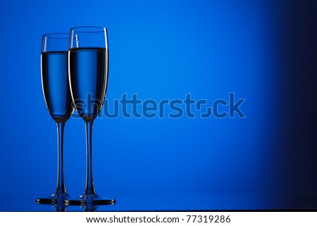 Pair of champagne flutes - stock photo