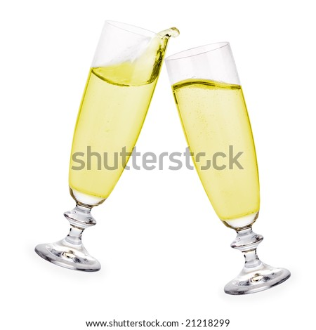 Pair of champagne flutes making a toast to celebrate a very special day! - stock photo