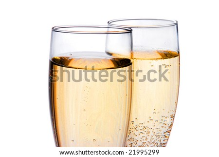 Pair of champagne glasses isolated on white close up