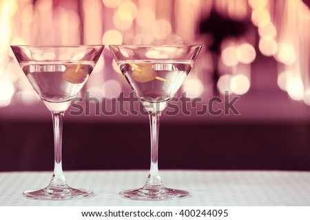 Pair of cocktail glasses.  - stock photo