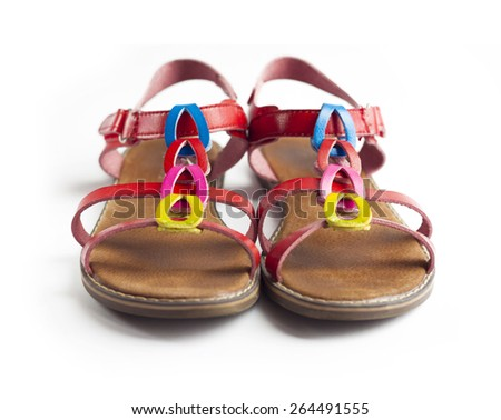Pair of colorful female sandals - stock photo