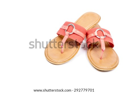 Pair of Colorful Flip Flops Isolated on White - stock photo
